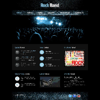 rock band web template plantillas web gratis. Black Bedroom Furniture Sets. Home Design Ideas